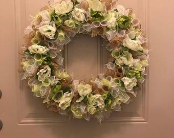 Green Burlap Wreath