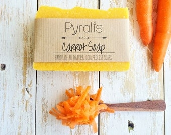 Carrot Soap, Organic Soap, Cold Process Soap, Vegan Soap, Natural Soap, Unscented Soap, Fragrance Free Soap, Palm Free Soap, Face Soap