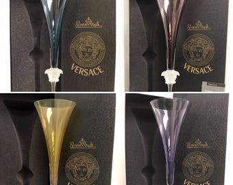 Authentic VERSACE Medusa Lumiere Crystal Champagne Flute by Rosenthal