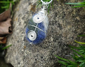 Felted Wool Wire Wrapped Pendant Necklace, Unique One of a Kind Woman's Gift, Christmas Gift, For the Love of Wool, Gift for Her