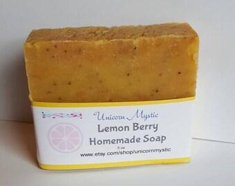 Lemon Berry Cold Processed Homemade Bar Soap