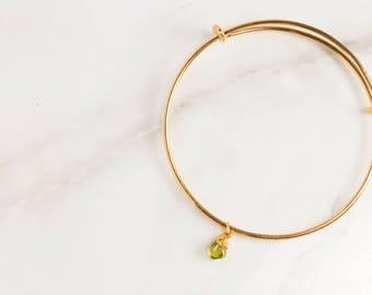 Raw Peridot Bracelet, Birthstone Bracelet, Rough Peridot Jewelry, Rough Gemstone Bracelet, Raw Gemstone Stacking Bracelet, Gift for Her