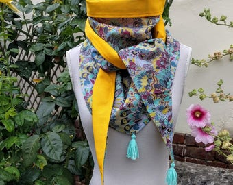 "Cotton triangle scarf, liberty ""Eben"" and yellow"