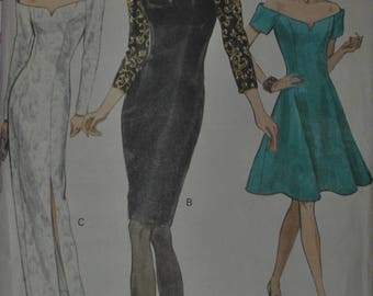 Vintage 1990s Vogue 8227 Sewing Pattern Fitted Evening Dress Off The Shoulder Straight or Flared Skirt Size 8 Bust 31.5""