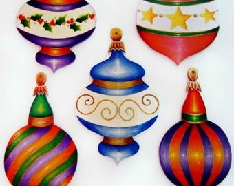 337-E PACKET Five Elegant Ornaments-Decorative Painting Pattern Packet-Christmas Ornaments-Instructions-3 Different Shapes-5 Designs-Glitzy