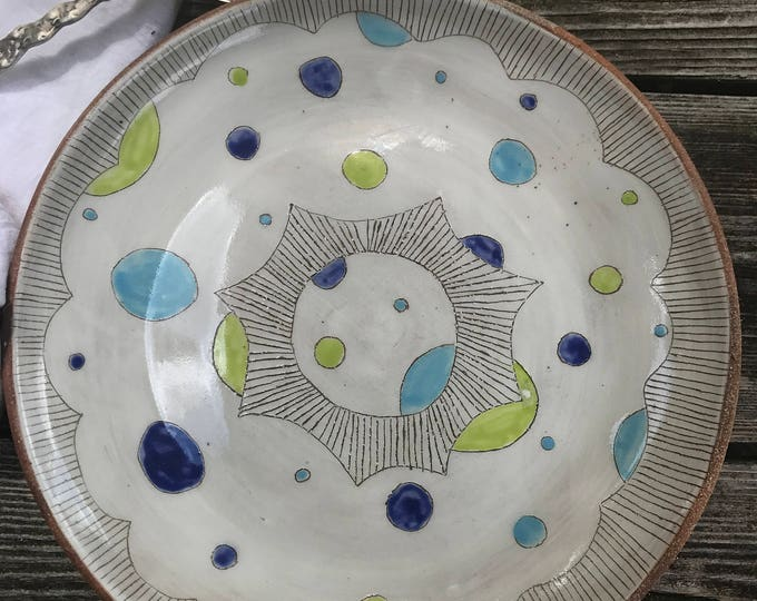Featured listing image: Blue Moon Large Round Serving Plate, Serving Platter, Serving Dish, Serving Plate