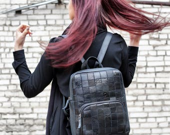 Black Leather Ladies Backpack A4 size Patchwork Handcrafted Compact Middle Size