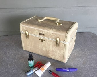 Vintage train case Samsonite Streamlite 1940s Natural Rawhide champagne marble color