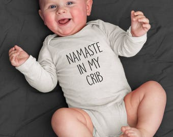 Namaste in my Crib Iron On Decal DIY All in One Shirt Tee Do It Yourself Nap T Meditation Pajamas Romper Baby Shower Gift Adoption Present
