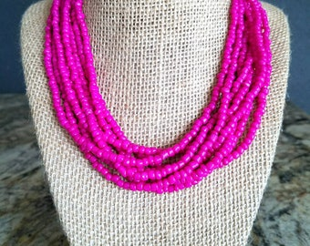 Multi strand necklace, hot pink necklace, silver accent, hot pink beaded necklace, adjustable length, beaded necklace, hot pink and silver