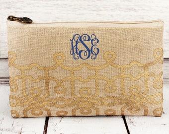 Cosmetic Bag, Monogrammed Makeup Bag, Monogrammed Clutch, Monogrammed gift, Personalized Bag, Bridesmaid Gift