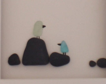8 x 10 Pebble Birds, Beach Glass Birds, Original Pebble Art with Hand Made frame in your choice of stain color by Jodi Bolger