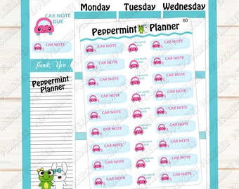 Car note Due --- Car Check up --- Take a trip --- Planner Stickers --- 60