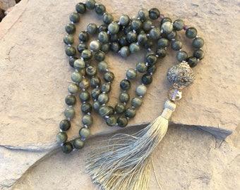 Green line jasper tassel necklace