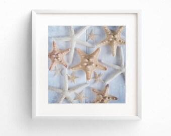 Starfish Art, Beach House Decor, Coastal Decor, Bathroom Wall Art, Square Print Set, Nautical Art, Fine Art Print, Coastal Wall Art