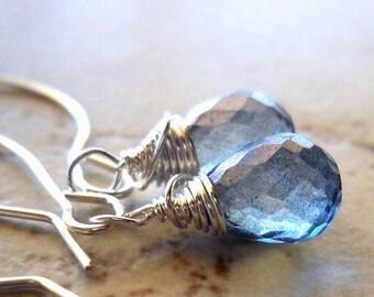 Mystic Quartz Dangle Earrings, Blue Purple Pale Tanzanite Candy Kiss Drops, Wire Wrap Drop Earrings Sterling Silver, Simple Minimal Jewelry