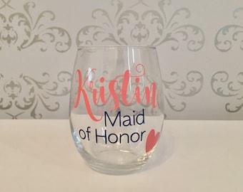 bridesmaid gift, bridesmaid proposal gift, bridesmaid wine glass, maid of honor gift, maid of honor proposal, maid of honor wine glass