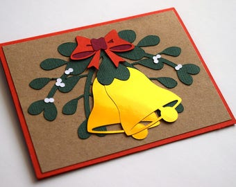 Merry Christmas Card - Holiday Greeting Card - Christmas Bells Card - Mistletoe Greeting Card - Happy Holidays Card - Christian Christmas