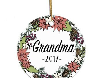 Personalized Grandma Ornament, Grandma Christmas Gift, Ornament for Grandma, 2017 Ornament, Christmas Tree Ornament, Gift for Grandma