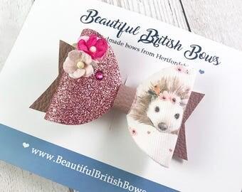 Easter hedgehog hair bow, floral, hair clip, handmade,