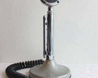 "Vintage Astatic Silver Eagle D104 Microphone with TUG-8 stand and 1/4"" jack"