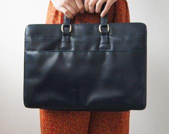 80's dark royal blue double zipper briefcase vintage handbag