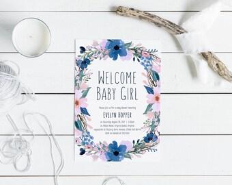 Printable Boho Baby Shower Invitation (Blue & Pink)