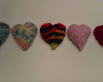 Three Crocheted Heart Cat Toys, Valentine's Day Cat Toy, Crocheted Heart, Stuffed Cat Toy, Catnip Toy, Crinkle Cat Toy, Cat Toy Set, Heart