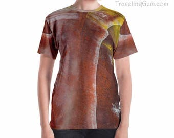 Petrified Wood Unisex T-shirt_Wood Stone Shirt_Mineral Rock Tee_Crystal Clothing_ Relaxed Fit Shirt_Red Stone Pattern Shirt_Natural Patterns