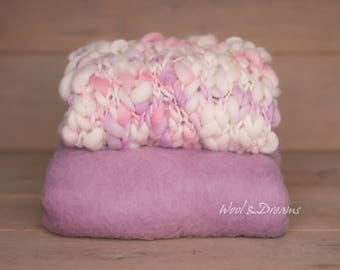 RTS Pink-Lilac-Ivory Handspun Blanket with the maching Basket Filler Photography Prop