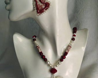 Quilted Heart Necklace, textile jewerly, eco friendly, beaded, fabric, Valentine statement.