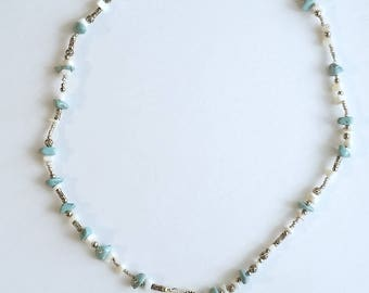 22/350 Bullet Magnesite and Mother-Of-Pearl shell and gold lip shell Necklace