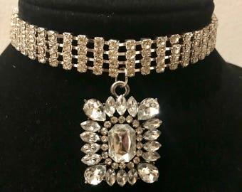 Vintage Rhinestone Choker Pendant Necklace