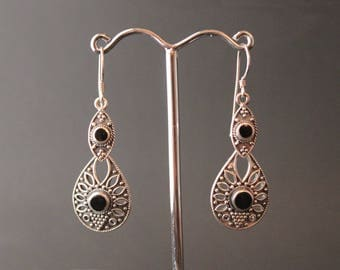 Sterling Silver and Onyx Vintage Earrings