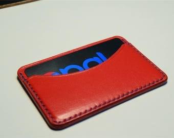 Red Kangaroo Leather Card Wallet, Slim Card Wallet, Leather Card Wallet, Personalised