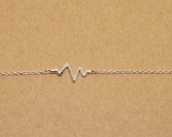 Tiny Pulse Wave Sterling Silver Anklet, Dainty Delicate Anklet, Basic Simple Sterling Silver Jewelry