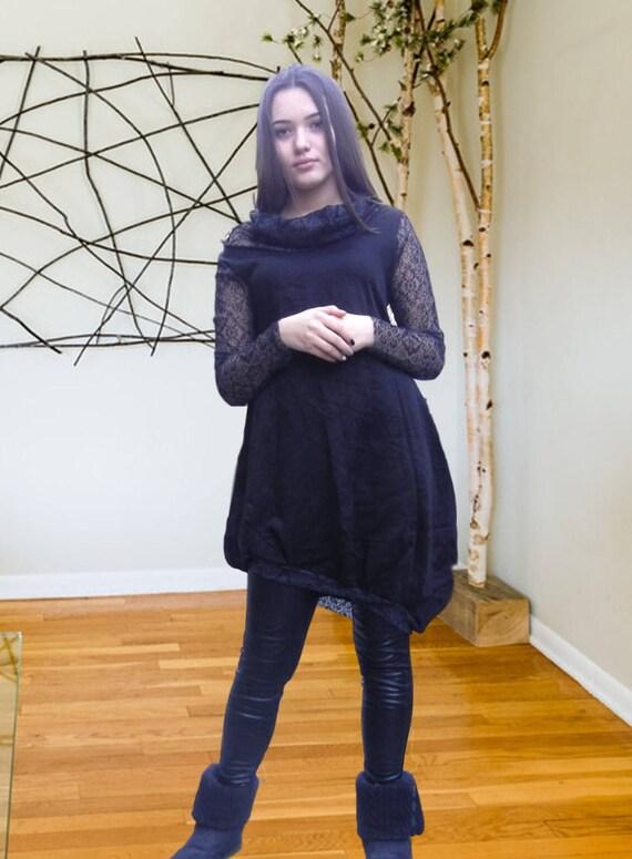Extravagant Party Dress / Black Lace Dress / Deconstructed  Dress / Clubwear / Small Black  Dress / Loose Asymmetric Dress