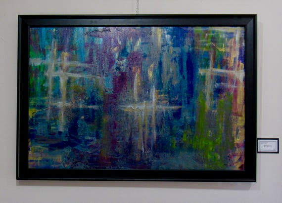 """Large Framed Abstract Painting """"In The Moment"""""""