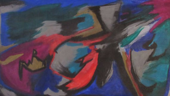 "X-Large Abstract Painting ""Running Man"""