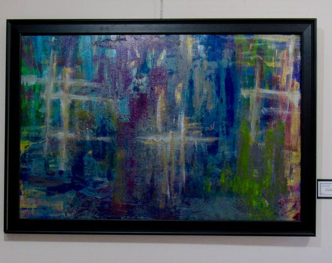 "Large Framed Abstract Painting ""In The Moment"""
