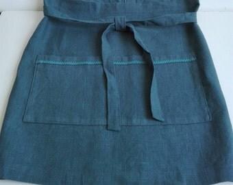 Linen Half Apron, Cafe Apron, Blue Green Apron, Vintage Style Apron, Washable Apron, Natural Apron