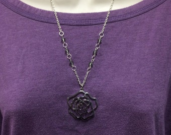 Rose Necklace, Flower necklace, Silver Necklace, large pendant jewelry, Statement necklace