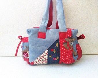 """Bag in hand, """"making goat"""", """"Delicious Bohemian spring"""", denim, cotton printed faux..."""