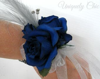 Blue rose wrist corsage, Wedding corsage, Blue & Grey prom corsage, Mother of the Bride corsages