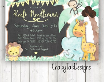 Jungle theme baby shower invitation, gender neutral baby shower ideas, safari baby shower, watercolor baby shower invitation, yellow green