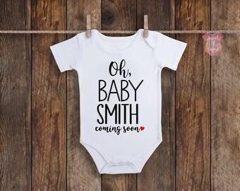 Baby Announcement Onesie, Custom Baby Onesie, Pregnancy Announcement Onesie, Pregnancy Announcement, Baby Announcement, Baby Onesie