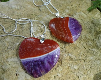 agate, large stone heart and 925 sterling silver heart pendant necklace