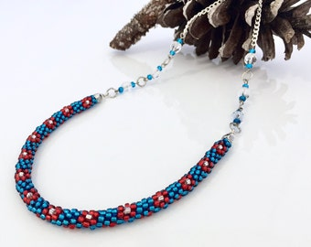 Patriotic kumihimo etsy for Patriotic beaded jewelry patterns
