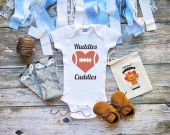 Huddles and Cuddles Football Baby Boy and Girl Onesie -  Football Bodysuit - Football Shirts for Babies - Infant & Newborn Clothes - M310