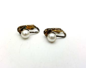 Vintage Clip on 80s Earrings Silver Tone Metal Faux Pearls Studs New Wave Industrial Modernist Modern Retro Fashion Runway Feminine